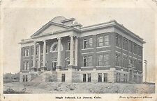 C59/ La Junta Colorado Co Postcard 1908 High School Building