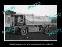 OLD LARGE HISTORIC PHOTO OF HARTFORD CONNECTICUT, THE HARTFORD WATER TRUCK c1920