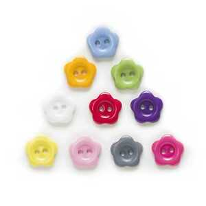 100pcs Flower Shape Resin Buttons for Sewing Scrapbooking Cloth Home Decor 12mm