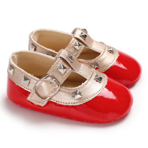 Newborn Baby Girl T-Bar Crib Shoes Infant Patent Leather Mary Janes Party Shoes