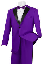NEW Mens Rich 2pc PURPLE Classic Fit Formal Tuxedo Suit w Black Satin Lapel Trim