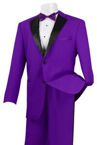 NEW Mens Rich 2pc PURPLE Classic Fit Formal Tuxedo Suit w Black Satin Lapel Trim