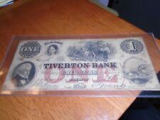$1  1857 Tiverton Bank - Tiverton, RI  Obsolete Currency Bank Note  No . 4796