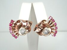 Vintage Retro Diamond .40 ct Ruby 1.25  ct 14k P/YG Earrings*GAL Appraisal