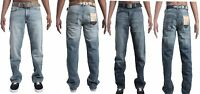Mens Wide Leg Bootcut Flared Blue Denim Heavy Jeans Waist Size 28 42 Leg30 32 34