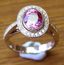 2.16ct Pink Natural Ceylon Sapphire Diamonds 18ct White Gold Handmade Ring