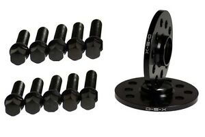 10MM Wheel Spacers BLACK 5x100 5x112 + BALL SEAT BOLTS for VW JETTA GOLF PASSAT