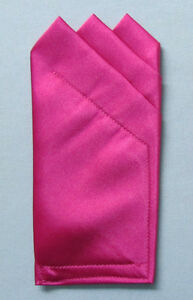 Pocket Squares - Satin 3 Point Square folded to just slip in pocket- Many Colors