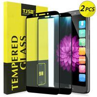 TJS 2-Pack For Motorola Moto E5 Plus Full Cover Tempered Glass Screen Protector