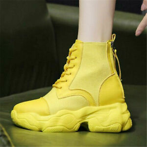 Women's Casual Shoes Lace-up Platform Wedge Heel Boots Fashion Sneakers Outdoor
