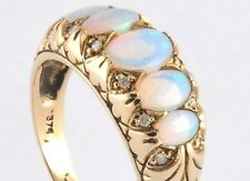 C506 SUPERB 9ct Gold SOLID Opal DIAMOND Bridge Eternity Ring made in your size