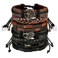 6PCS Hemp Cords Wood Bead Ethnic Tribal Tree of life Leather Bracelet Wristband