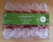 Santa Claus LED String Santa Head Lights White Wire 10 Santa Heads 7.5'