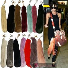 CELEBRITY INSPIRED NEW COLOURED FAUX FUR TAIL KEYRING BAG CHARM KEYCHAIN