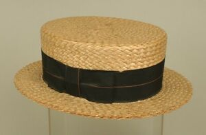 Vintage Men's Straw Wide Rim Boater Hat - H.H. Fetterman Hatters - Size 7-1/8
