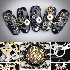 200Pcs Punk Style 3D Nail Art Tips Decor Gear Wheel Mix steampunk Parts Design