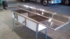 Stainless Steel 3 Bay Sinks W/Overhead Rinse