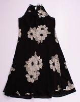 Womens Ann Taylor Black 100% Silk Floral Sleeveless Midi Dress Size 8