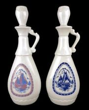 Vintage Liquor Bottle Sailboat Dutch Windmill Cork Top 1965 Bar Milk Glass