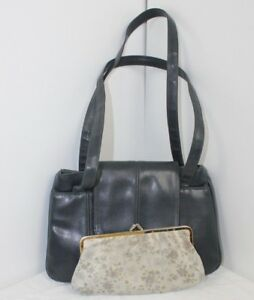 Ladies Leather Shoulder Bag By Brenton grey with purse