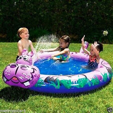 BANZAI KIDS SPRAY 'N SPLASH HIPPO SWIMMING POOL,SPRINKLER,& JUNGLE GRAPHICS,NEW