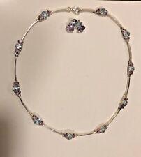 NWOT 24GR Sterling Silver 925  Amethyst & Blue Topaz Necklace,Pierced Earrings