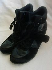 Blue Ankle Wedge Boots.   Size 8 N.  Black