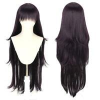 For Dangan-Ronpa tsumiki mikan 100cm dark purple long wavy N5X1 cosplay wig P8Y8