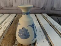 vintage Wedgwood jasperware blue on white mini vase bud chariot round