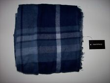 "Jane & Berry Large Scarf Blue Plaid Metallic Fringe Edge 36"" x 65"" Acrylic New"
