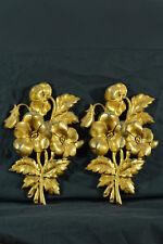 Paire de grands Cache Clous 19E Bronze doré Fleurs & feuillages Cover Nail Rare