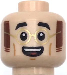 Lego New Light Flesh Minifigure Head Dual Sided Black Eyebrows Gold Glasses