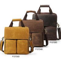 """Retro Mens Genuine Leather 13"""" Laptop Bag Messenger Shoulder Bag Satchel Handbag"""