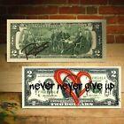 "Open Heart Red Graffiti ""Never Give Up"" Genuine $2 Bill Rency Art  LTD # of 66"