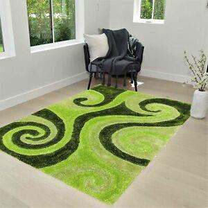 Green shag Rug 5X7 for Living Room Decor 2021 Rug Trends Bright Modern Swirls...