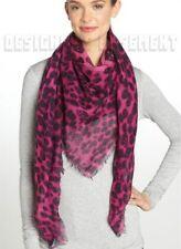 "ALEXANDER MCQUEEN magenta SKULL Leopard print 52""-Square cashmere shawl NEW Auth"