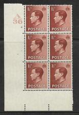 1½d Edward Viii A36 Cylinder Block - 6 No Dot Mounted Mint