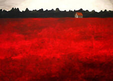 Landscape modern face illusion red field Giclee ACEO print folk art Criswell