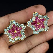 Pear Ruby Only Heated Blue Zircon Gold Plate 925 Sterling Silver Flower Earrings
