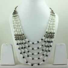 NECKLACE NATURAL WHITE RAINBOW MOONSTONE & AMETHYST GEMSTONE BEADED 86 GRAMS