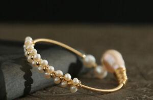 D13 Bangle Bracelet Baroque Style Flower Tendril From Freshwater Pearls White