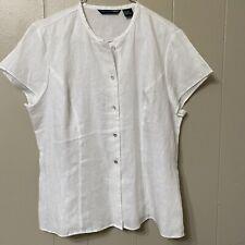 Saint Tropez West Women's L White 100% Linen Button Down Casual Top