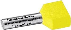 Twin Wire Ferrules 2 X 6 MM ² Yellow Wire End Ferrules Double Tinned