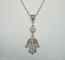 "Filigree Hamsa Hand White Stone Pendant 24"" Long Chain Necklace - Protection"