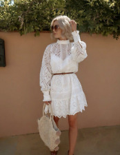*H&M* TREND BRODERIE ANGLAISE TUNIC WHITE DRESS BLOGGERS HOLIDAYS PARTY SIZE XS