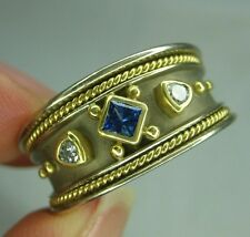 Wide Designer Tanzanite and Diamond Band size 9 14K White Yellow accent bezel