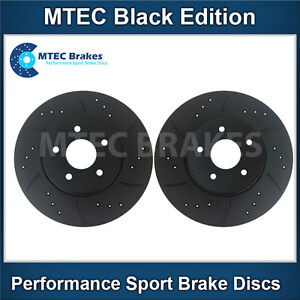 Audi A4 2.0 TDi Quattro 06-07 Front Brake Discs Black Drilled Grooved