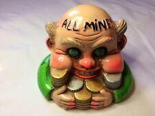 "RARE! Vintage Greedy Boss Man ""All Mine"" Bank 1969 Milton Laser Rossini Japan"