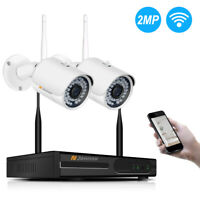 Wifi Wireless 1080P 4CH HD 2pcs Security Camera System Outdoor Home CCTV NVR Kit