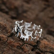 Cute Cat Ring ~ Silver Coloured Kitten Finger Ring ~ Animal Jewellery